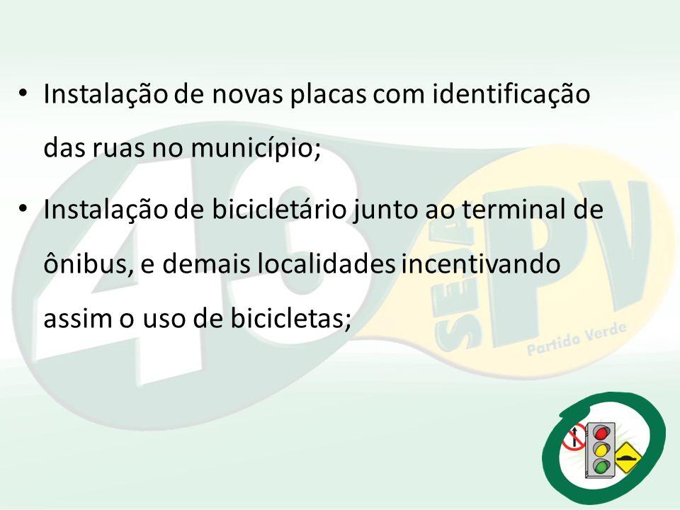 Instalação de novas placas com identificação das ruas no município;