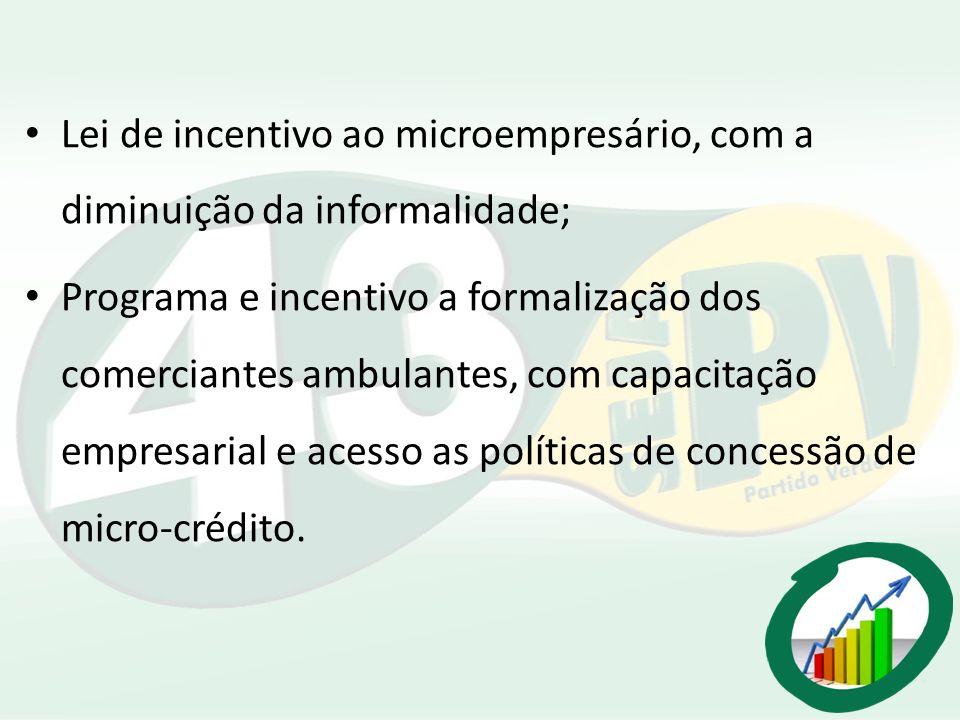 Lei de incentivo ao microempresário, com a diminuição da informalidade;