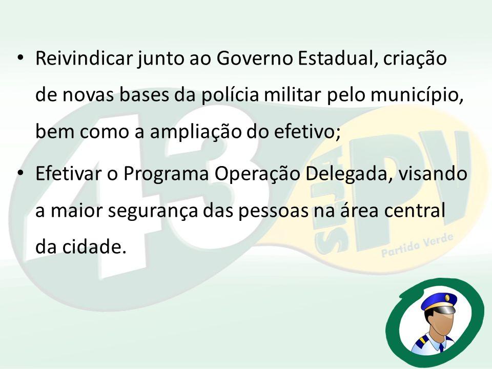 Reivindicar junto ao Governo Estadual, criação de novas bases da polícia militar pelo município, bem como a ampliação do efetivo;