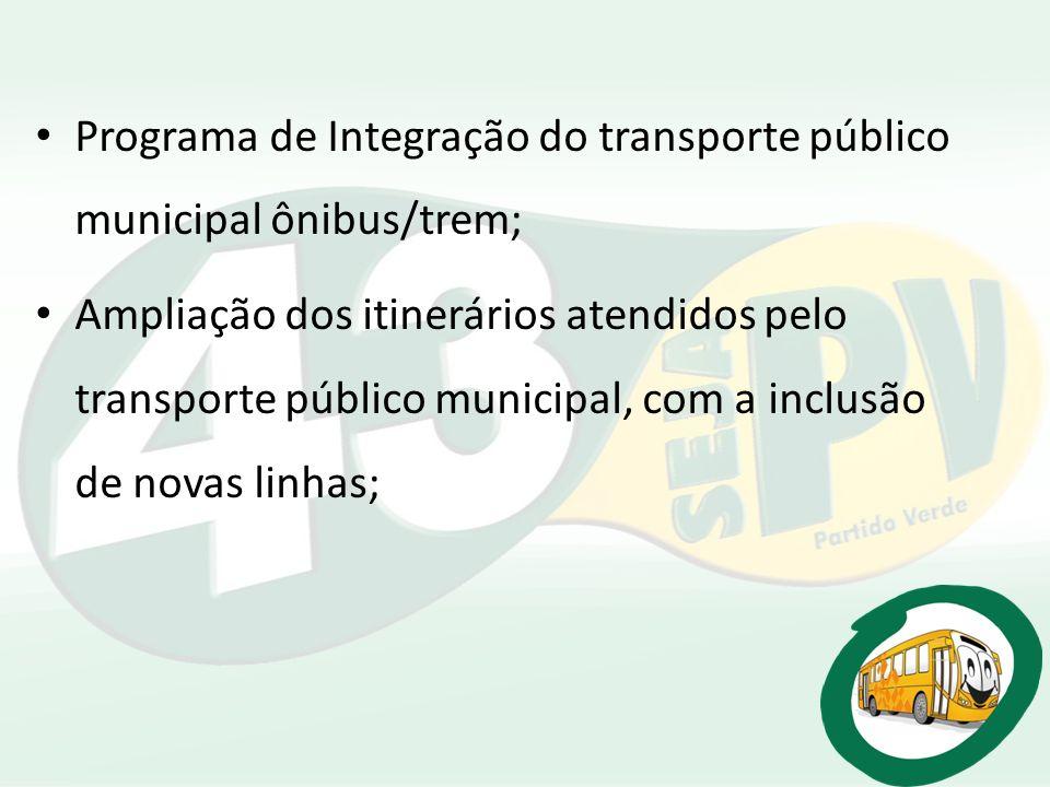 Programa de Integração do transporte público municipal ônibus/trem;