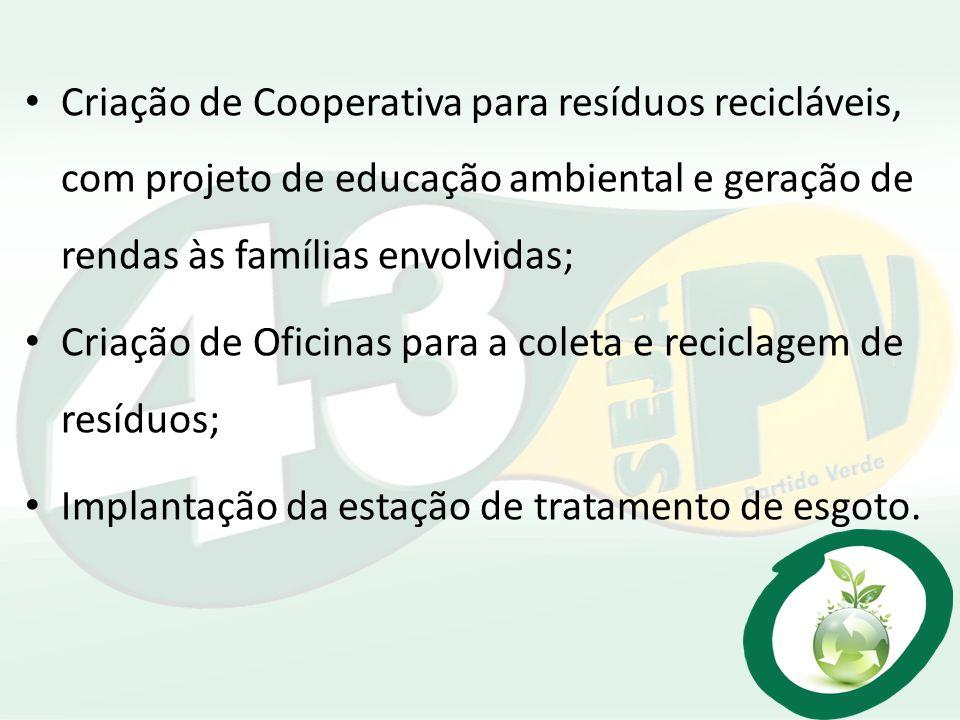 Criação de Cooperativa para resíduos recicláveis, com projeto de educação ambiental e geração de rendas às famílias envolvidas;