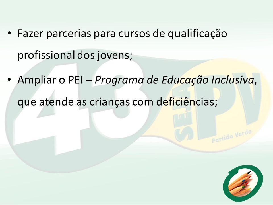 Fazer parcerias para cursos de qualificação profissional dos jovens;