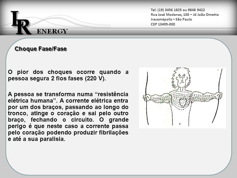 O pior dos choques ocorre quando a pessoa segura 2 fios fases (220 V).