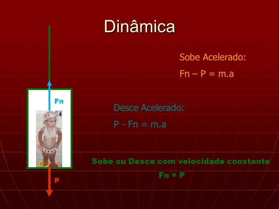 Dinâmica Sobe Acelerado: Fn – P = m.a Desce Acelerado: P - Fn = m.a