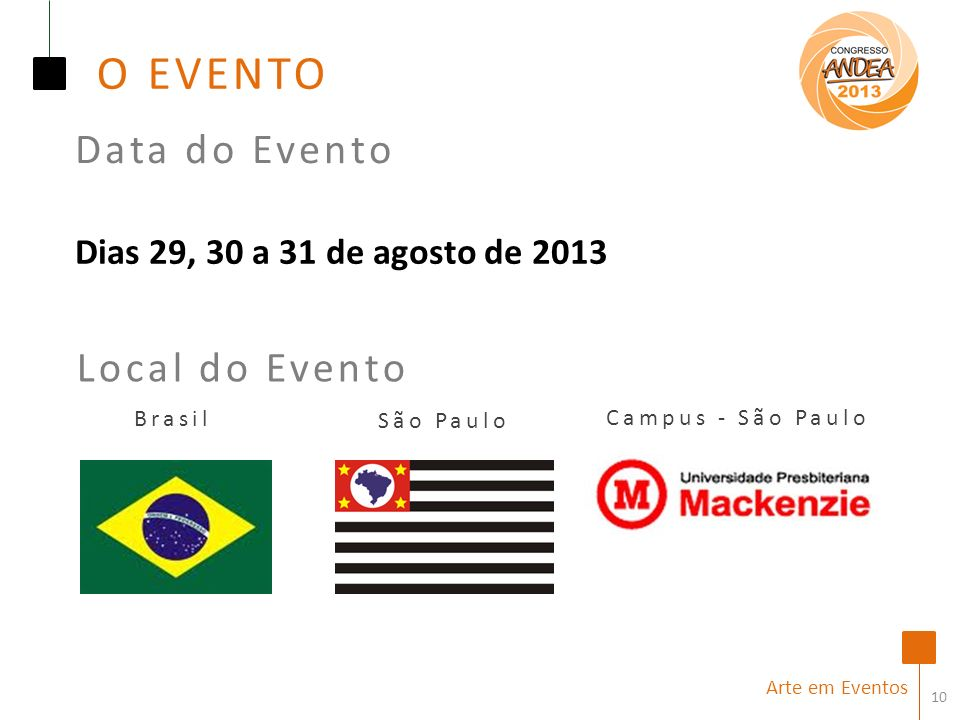 O EVENTO Data do Evento Local do Evento