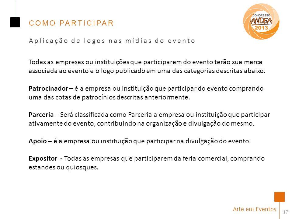 Aplicação de logos nas mídias do evento
