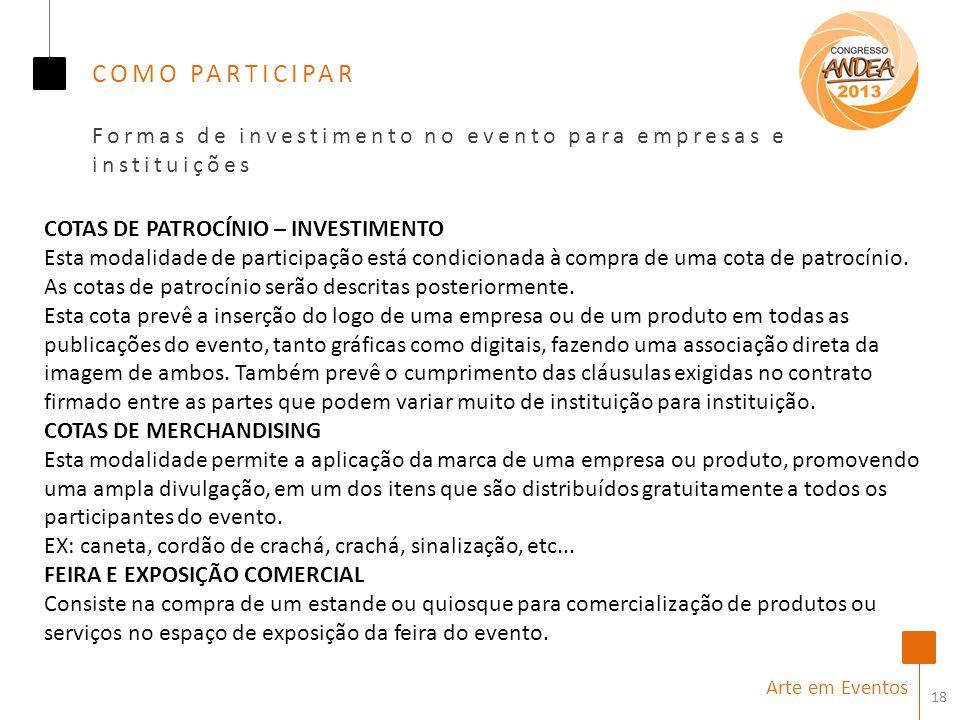 COMO PARTICIPAR Formas de investimento no evento para empresas e instituições. COTAS DE PATROCÍNIO – INVESTIMENTO.