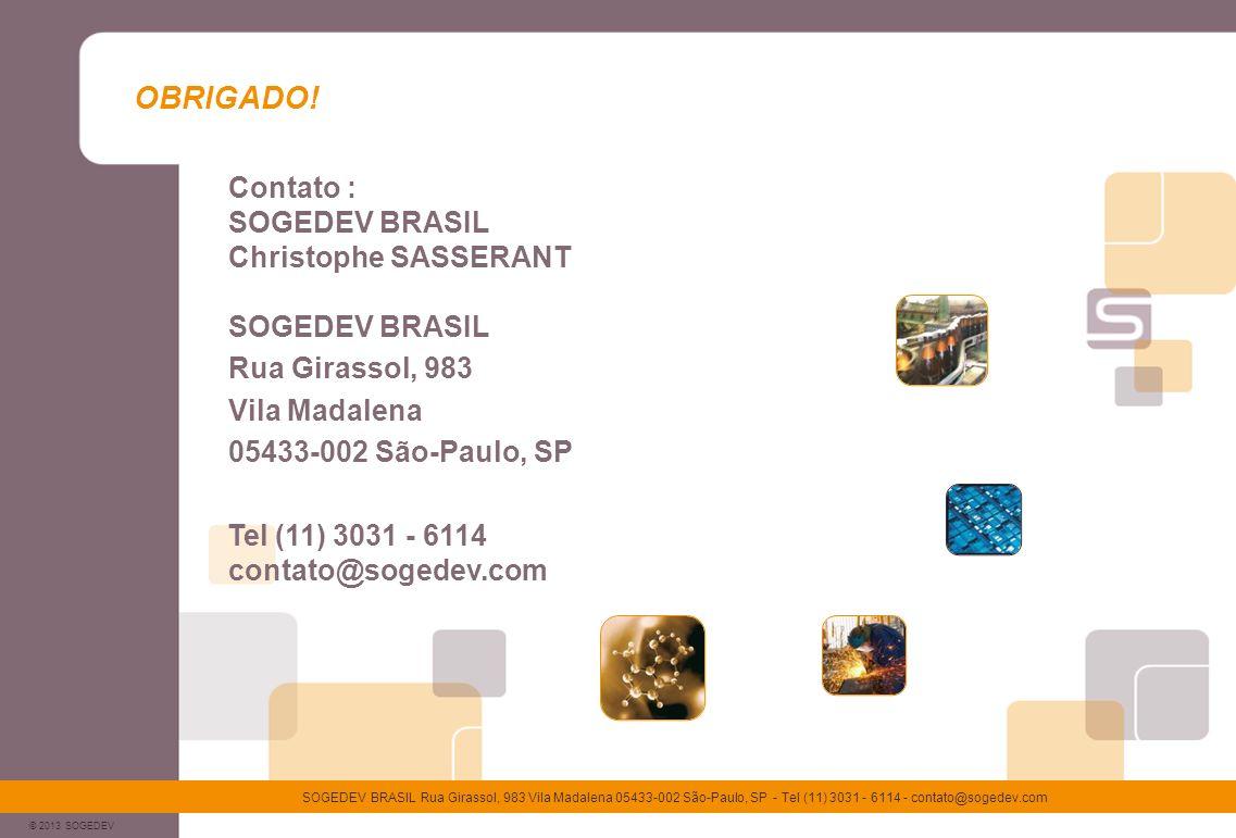 OBRIGADO! Contato : SOGEDEV BRASIL Christophe SASSERANT SOGEDEV BRASIL
