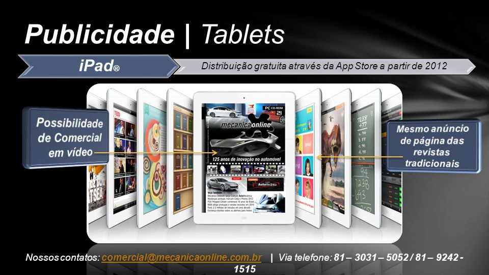 Publicidade | Tablets iPad® Possibilidade de Comercial em vídeo