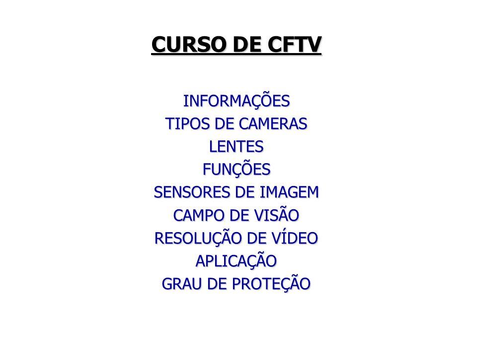 CURSO DE CFTV INFORMAÇÕES TIPOS DE CAMERAS LENTES FUNÇÕES
