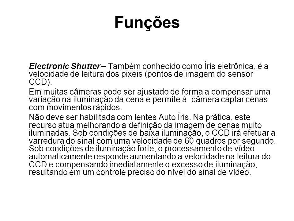 Funções Electronic Shutter – Também conhecido como Íris eletrônica, é a velocidade de leitura dos pixeis (pontos de imagem do sensor CCD).