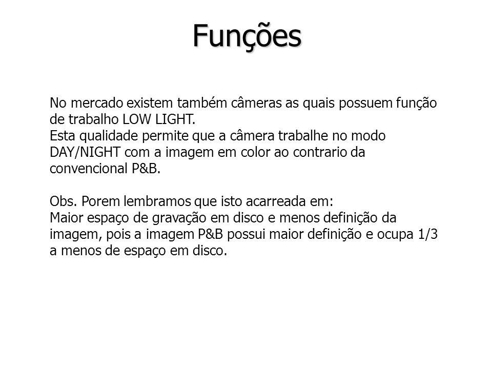 Funções No mercado existem também câmeras as quais possuem função de trabalho LOW LIGHT.
