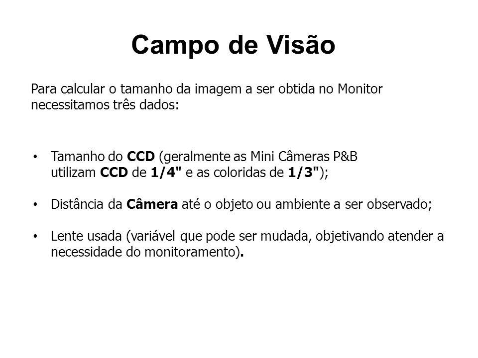 Campo de Visão Para calcular o tamanho da imagem a ser obtida no Monitor necessitamos três dados: