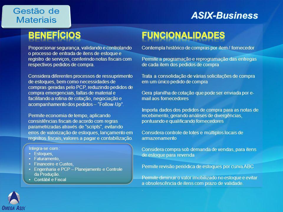 Gestão de Materiais ASIX-Business Benefícios Funcionalidades