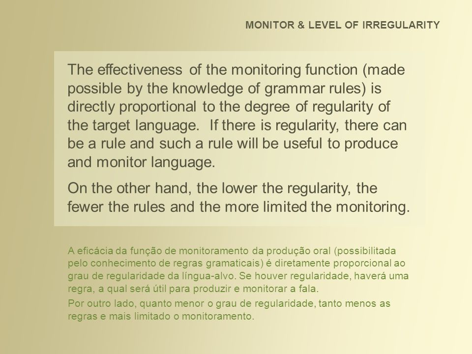 MONITOR & LEVEL OF IRREGULARITY