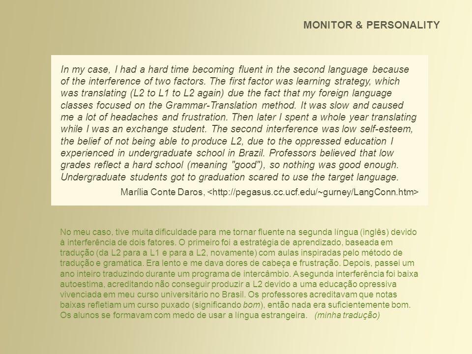MONITOR & PERSONALITY