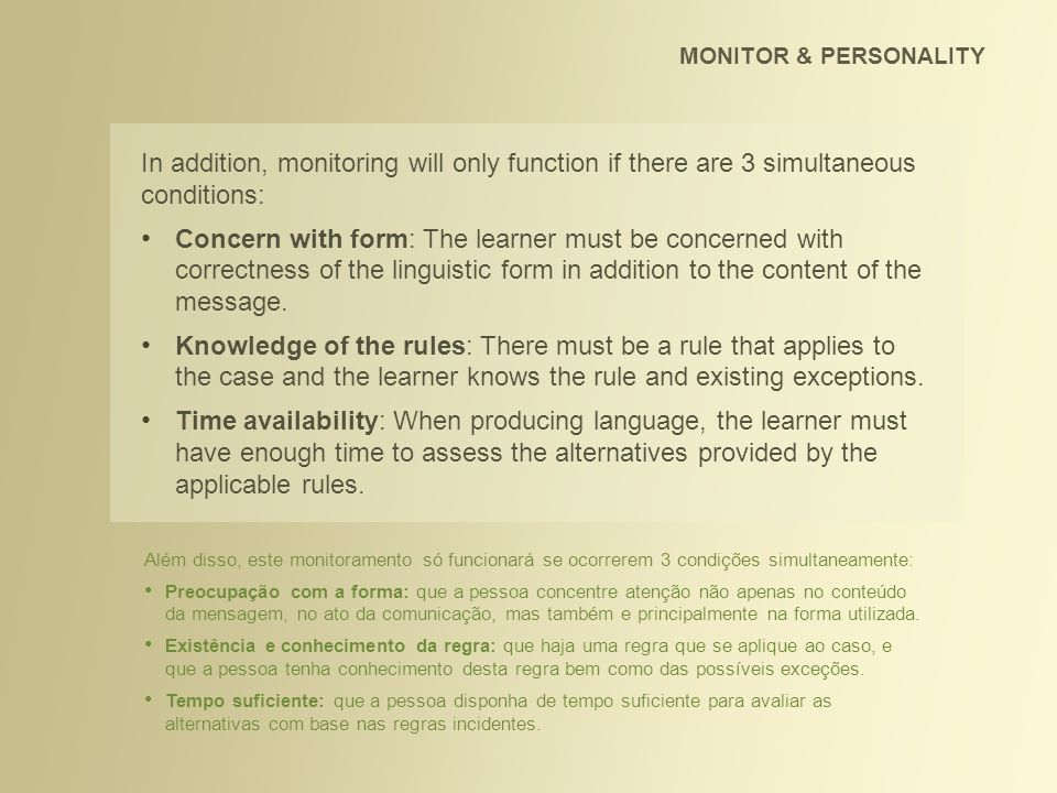 MONITOR & PERSONALITY In addition, monitoring will only function if there are 3 simultaneous conditions: