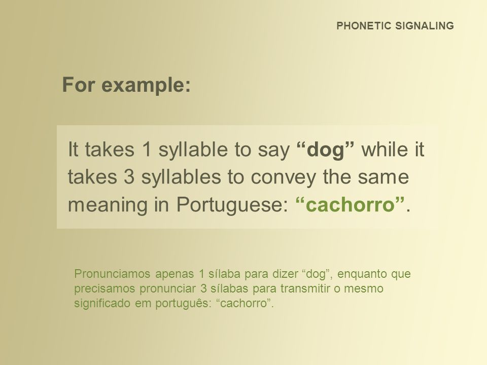 PHONETIC SIGNALING For example: It takes 1 syllable to say dog while it takes 3 syllables to convey the same meaning in Portuguese: cachorro .