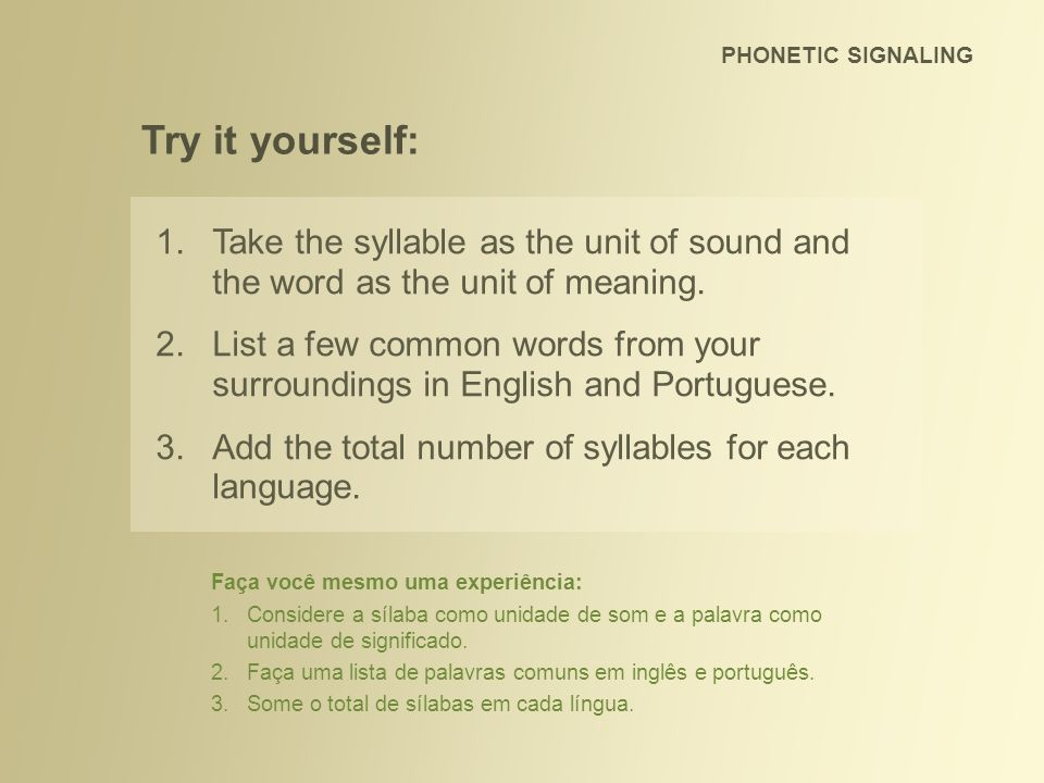 PHONETIC SIGNALING Try it yourself: Take the syllable as the unit of sound and the word as the unit of meaning.