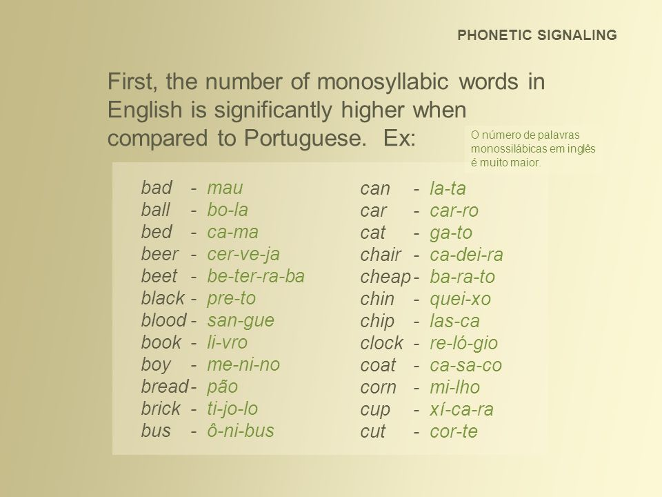 PHONETIC SIGNALING First, the number of monosyllabic words in English is significantly higher when compared to Portuguese. Ex: