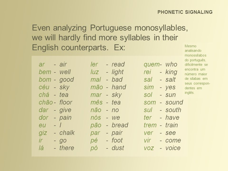 PHONETIC SIGNALING Even analyzing Portuguese monosyllables, we will hardly find more syllables in their English counterparts. Ex: