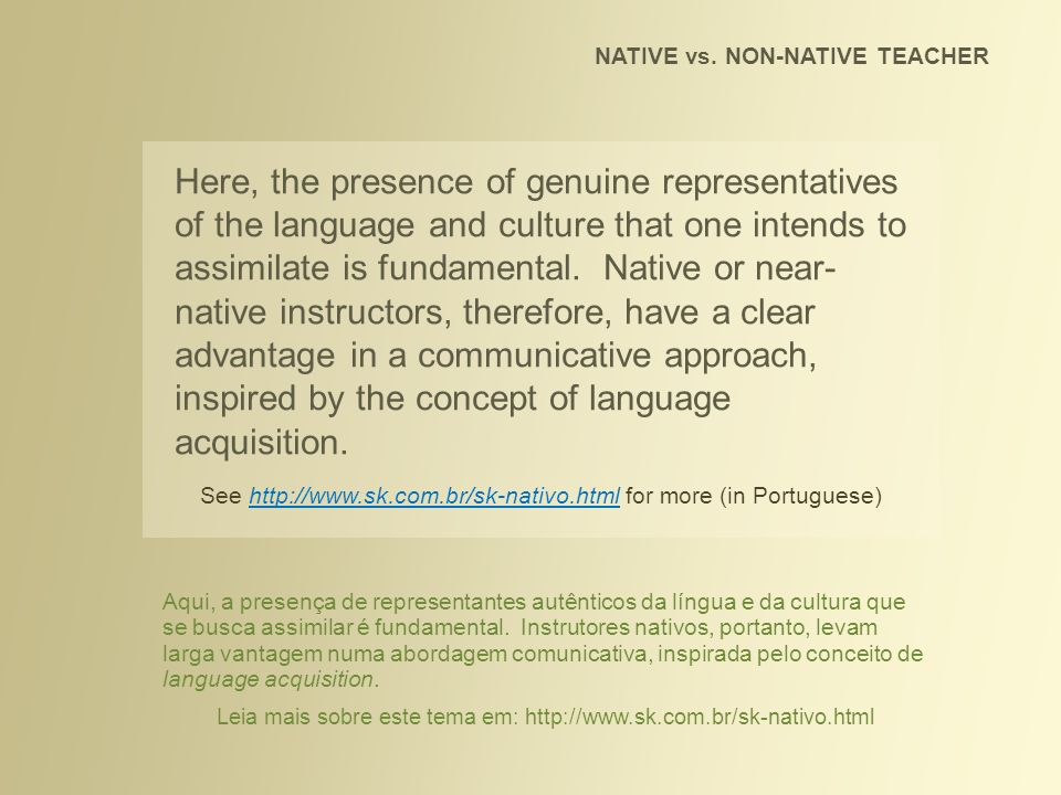 NATIVE vs. NON-NATIVE TEACHER