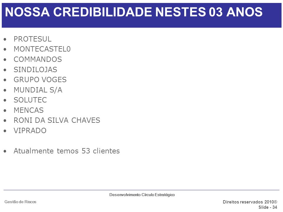 NOSSA CREDIBILIDADE NESTES 03 ANOS