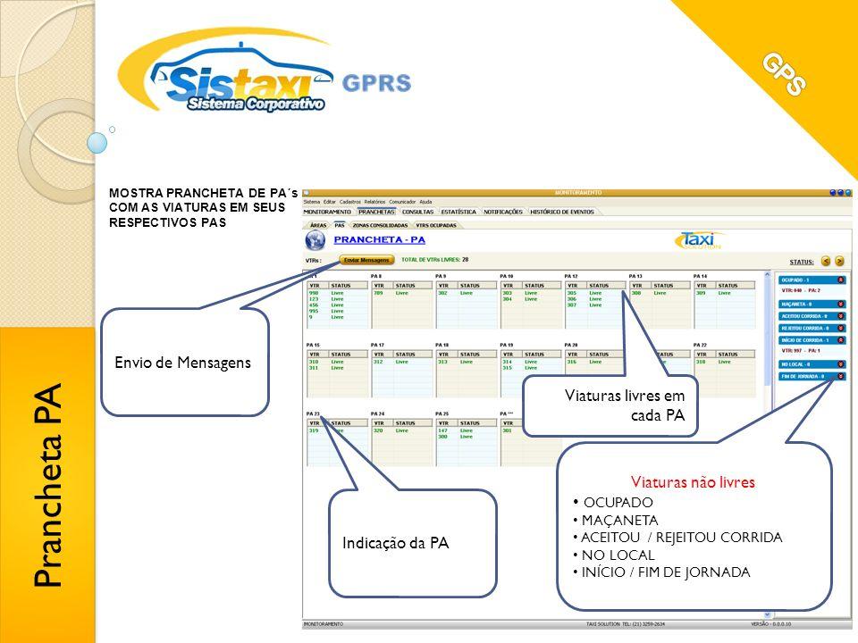 Prancheta PA GPS Envio de Mensagens Viaturas livres em cada PA