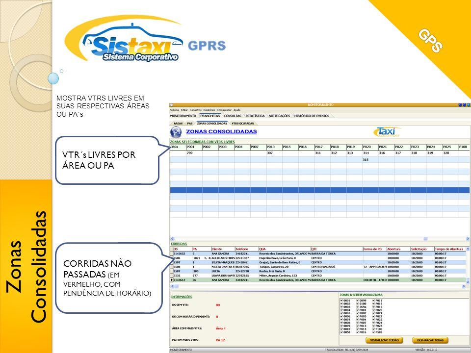 Zonas Consolidadas GPS VTR´s LIVRES POR ÁREA OU PA