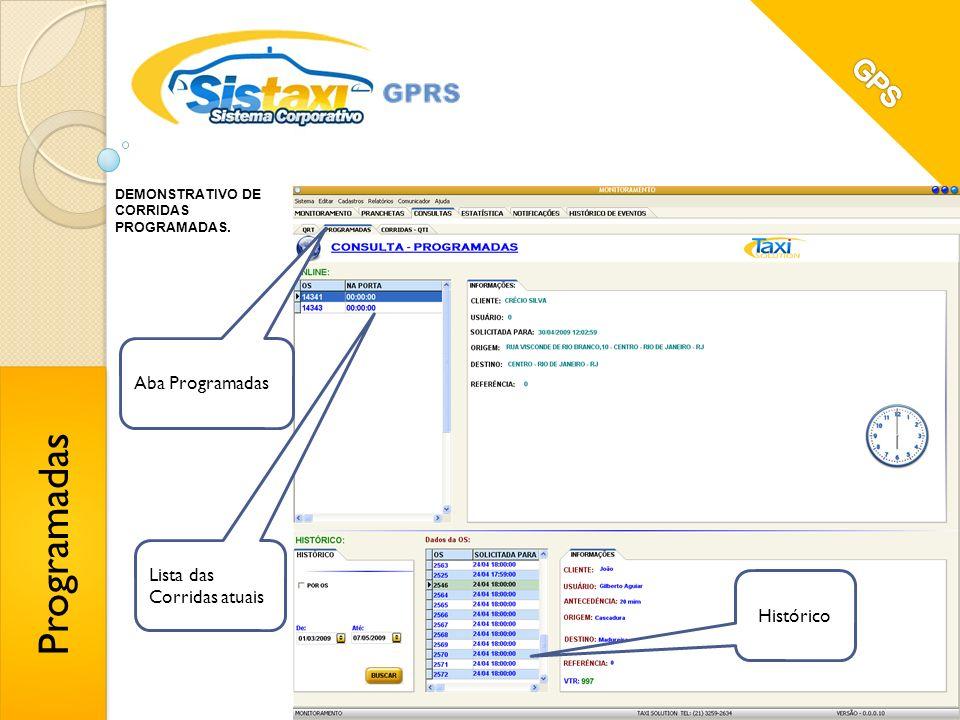 Programadas GPS Aba Programadas Lista das Corridas atuais Histórico