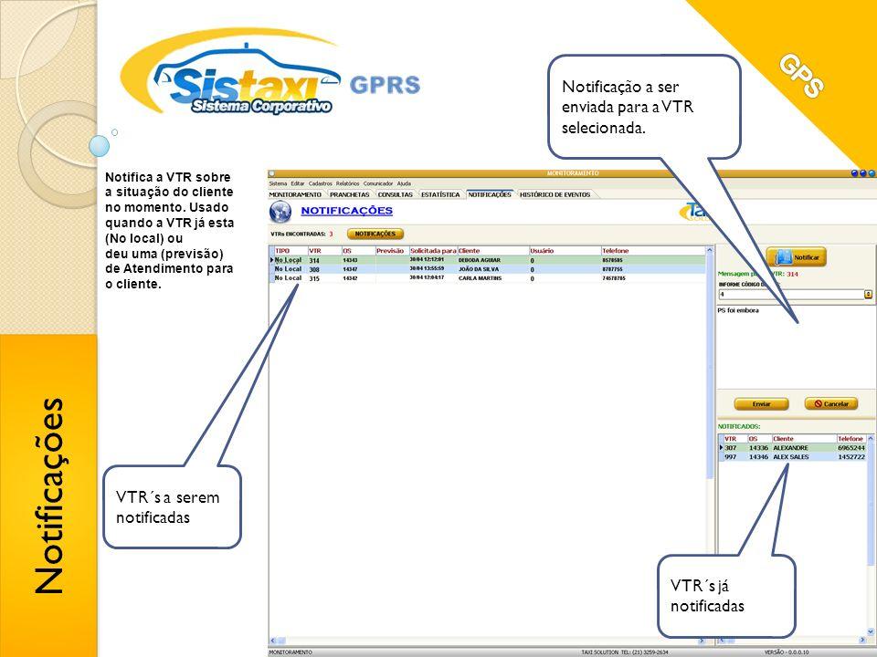 Notificações GPS Notificação a ser enviada para a VTR selecionada.
