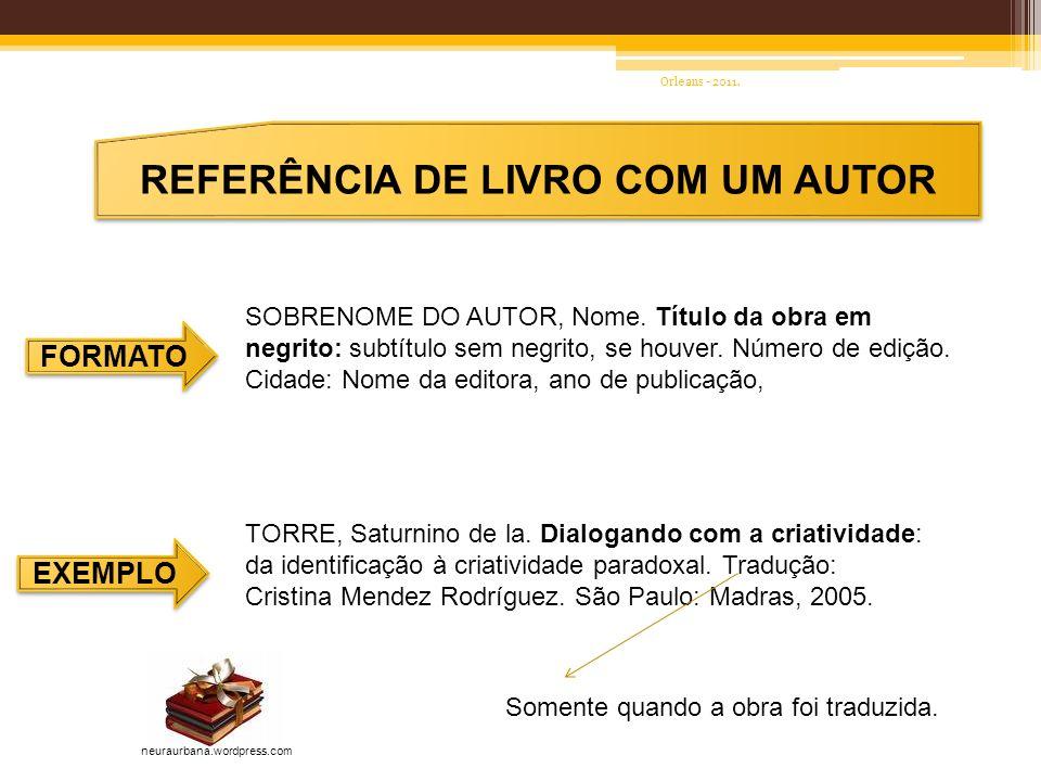 REFERÊNCIA DE LIVRO COM UM AUTOR