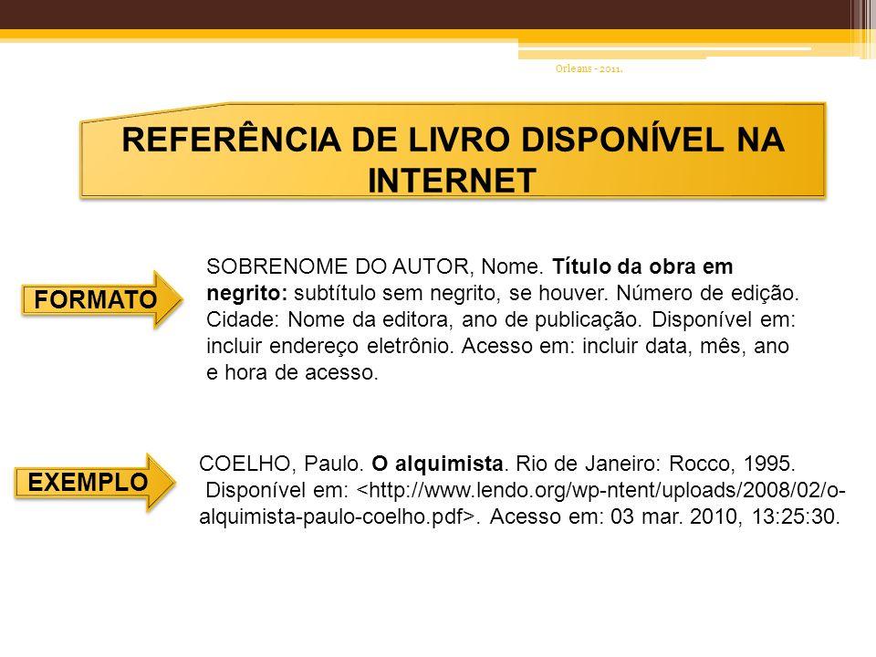 REFERÊNCIA DE LIVRO DISPONÍVEL NA INTERNET