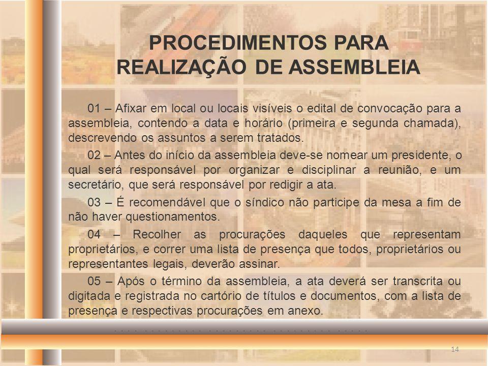 PROCEDIMENTOS PARA REALIZAÇÃO DE ASSEMBLEIA