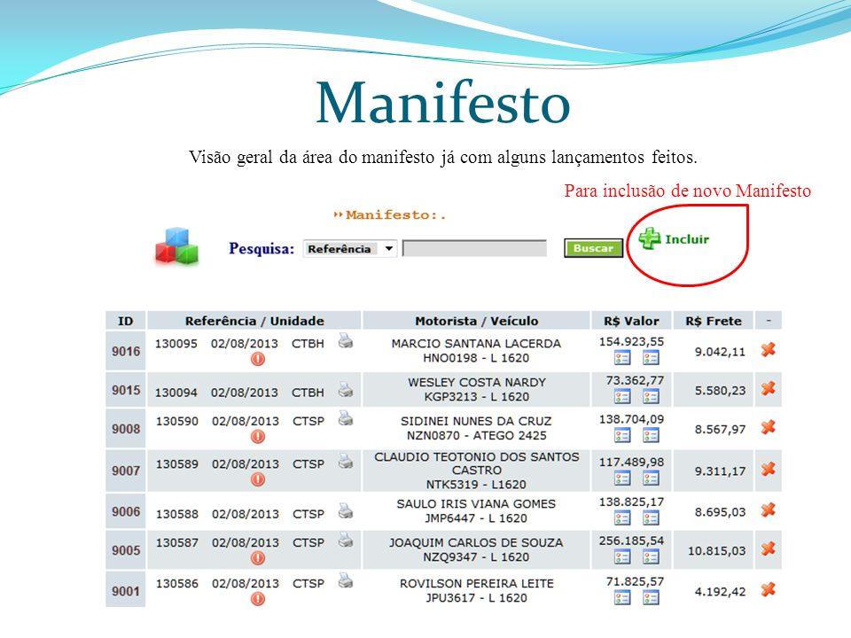 Visão geral da área do manifesto já com alguns lançamentos feitos.