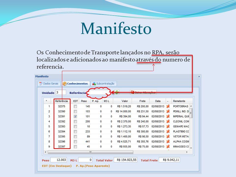 Manifesto Os Conhecimento de Transporte lançados no RPA, serão localizados e adicionados ao manifesto através do numero de referencia.