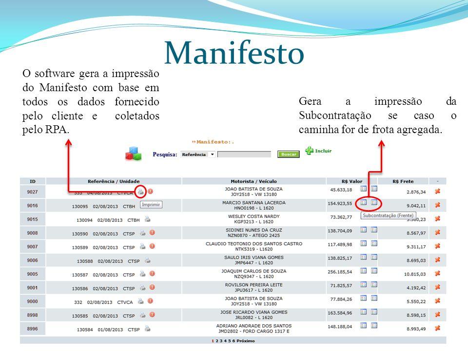 Manifesto O software gera a impressão do Manifesto com base em todos os dados fornecido pelo cliente e coletados pelo RPA.