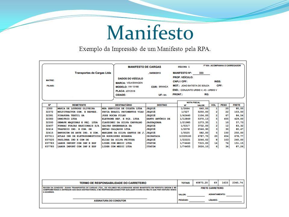Manifesto Exemplo da Impressão de um Manifesto pela RPA.