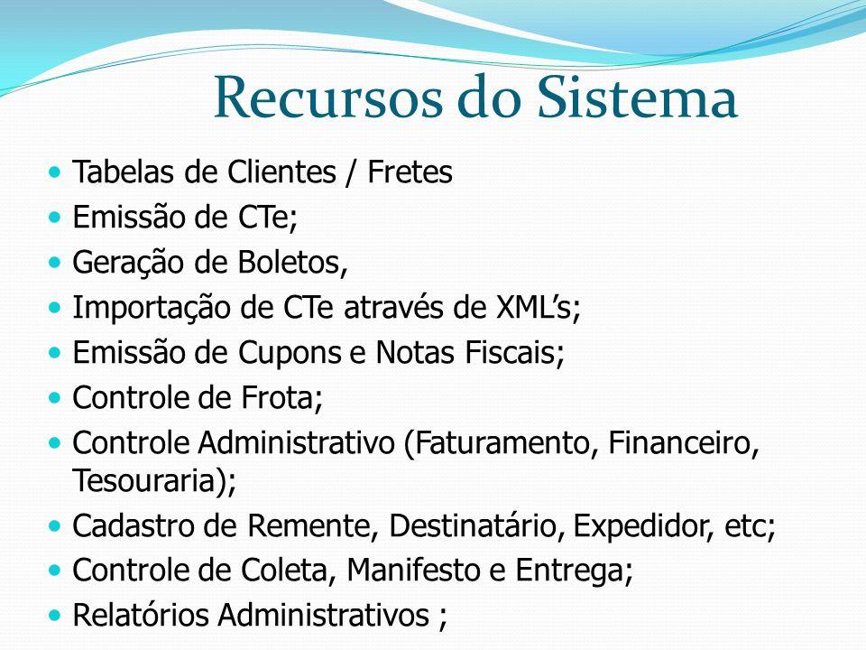 Recursos do Sistema Tabelas de Clientes / Fretes Emissão de CTe;
