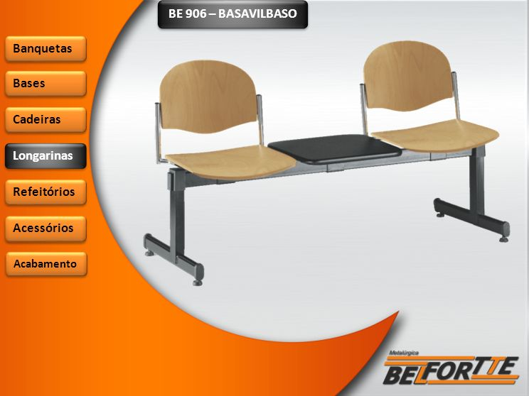 BE 906 – BASAVILBASO Banquetas Bases Cadeiras Longarinas Refeitórios