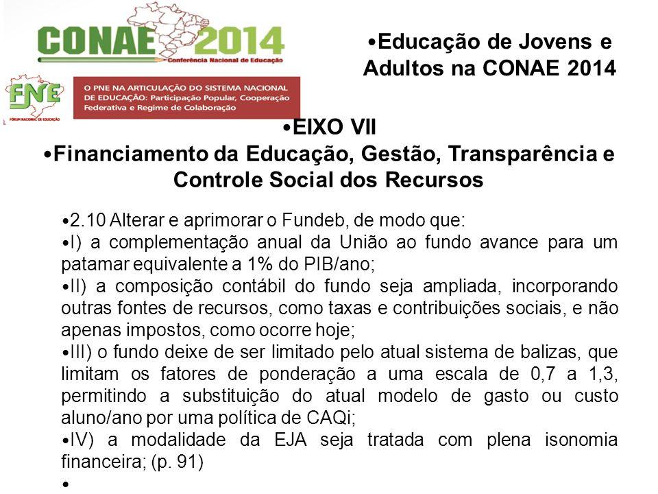 EIXO VII Financiamento da Educação, Gestão, Transparência e Controle Social dos Recursos. 2.10 Alterar e aprimorar o Fundeb, de modo que: