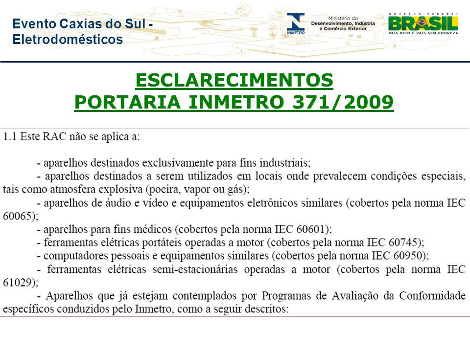 ESCLARECIMENTOS PORTARIA INMETRO 371/2009