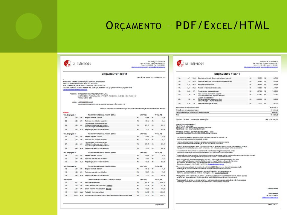 Orçamento – PDF/Excel/HTML