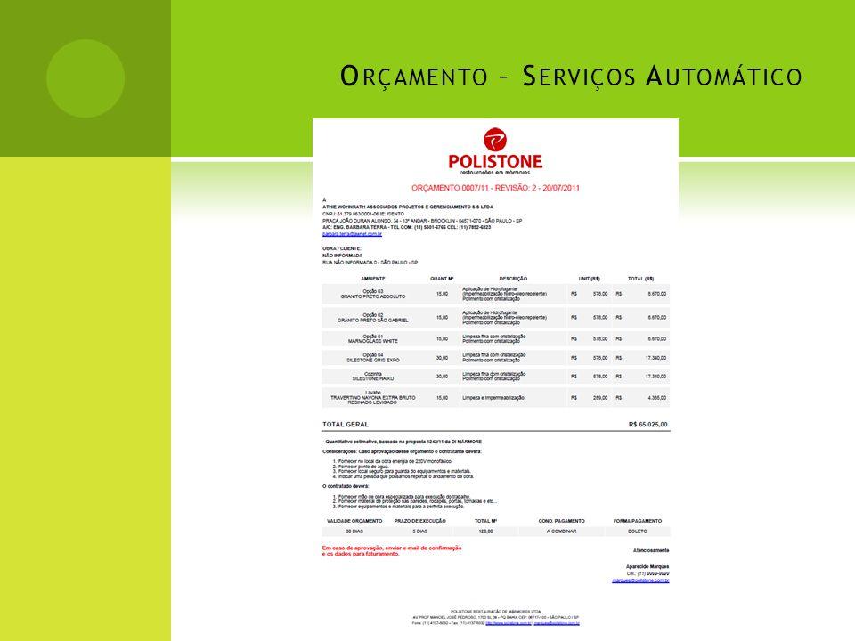 Orçamento – Serviços Automático