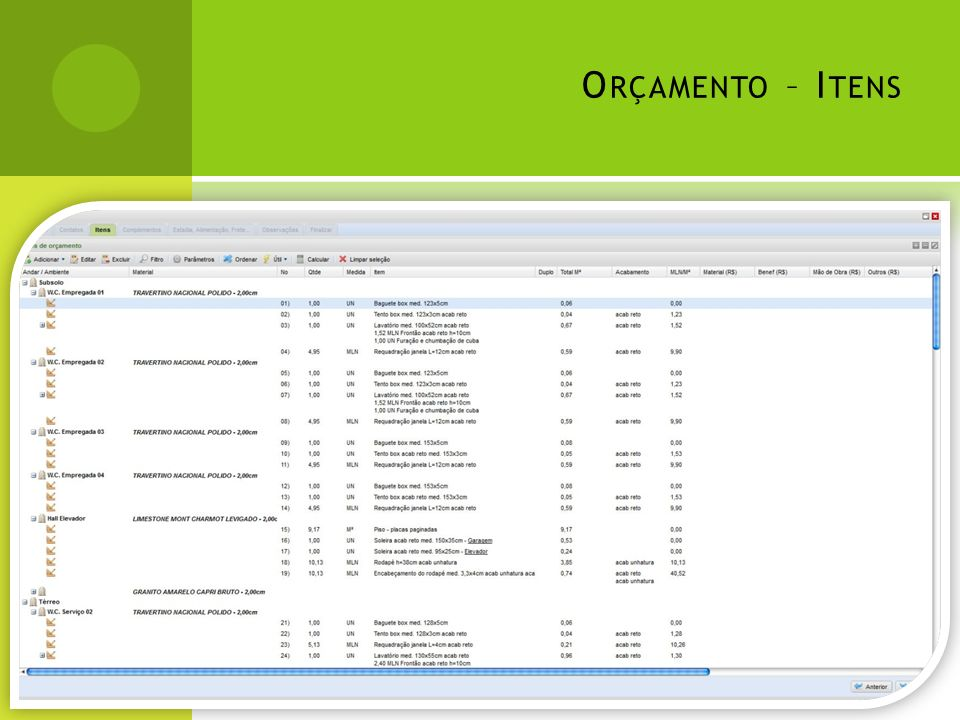 Orçamento – Itens Na tela principal de itens é possível: