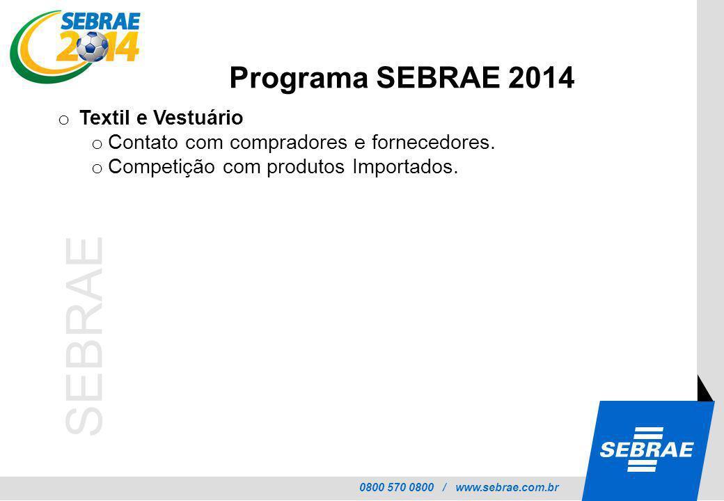 Programa SEBRAE 2014 Textil e Vestuário