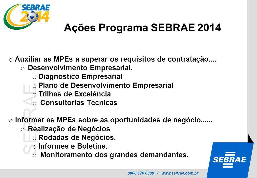 Ações Programa SEBRAE 2014 Auxiliar as MPEs a superar os requisitos de contratação.... Desenvolvimento Empresarial.