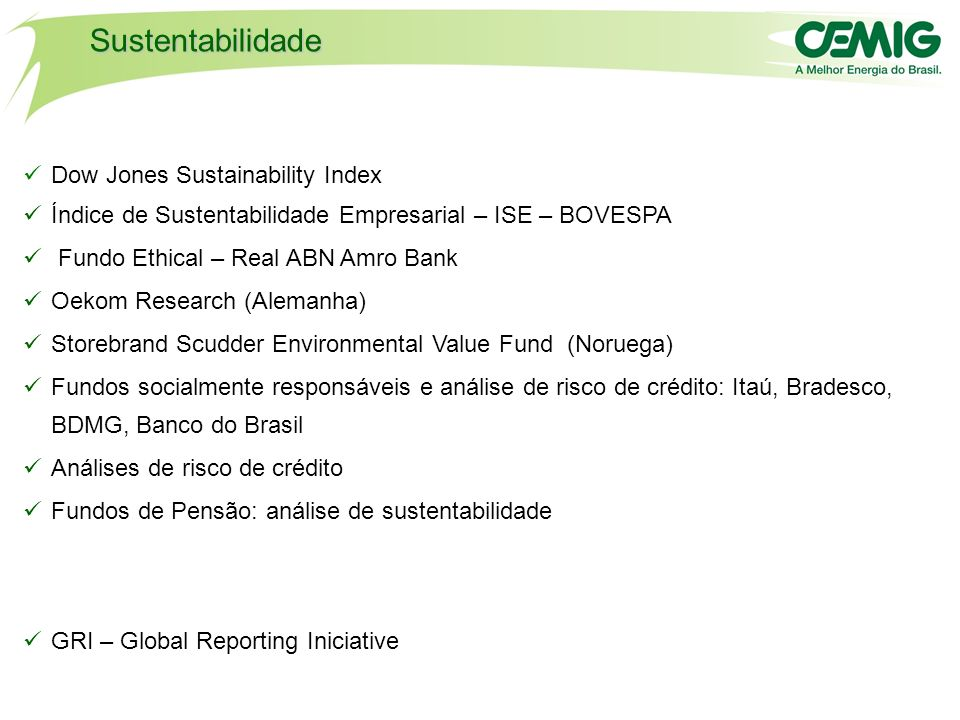 Sustentabilidade Dow Jones Sustainability Index