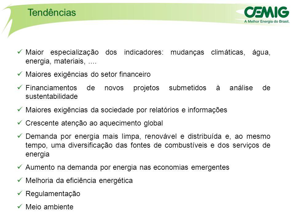 Tendências Maior especialização dos indicadores: mudanças climáticas, água, energia, materiais, ....