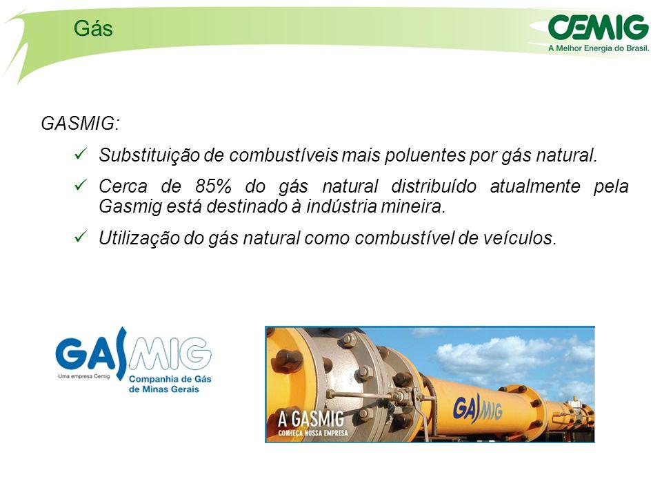 Gás GASMIG: Substituição de combustíveis mais poluentes por gás natural.